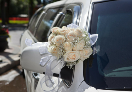 bouquet on limo