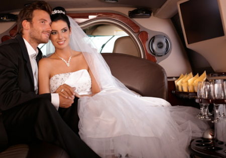 newlyweds in limo